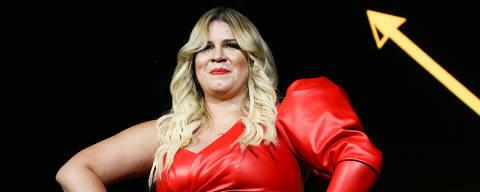 A cantora Marília Mendonça faz show em São Paulo, o primeiro depois do nascimento de seu filho, Leo