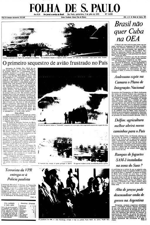 Primeira Página da Folha de 2 de julho de 1970
