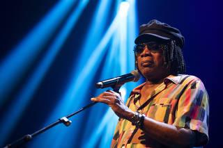 O cantor Milton Nascimento durante apresentação no Espaço das Américas (SP)
