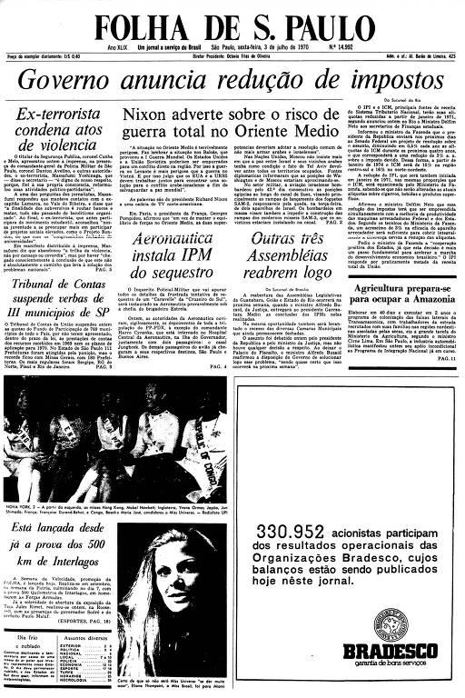 Primeira Página da Folha de 3 de julho 1970