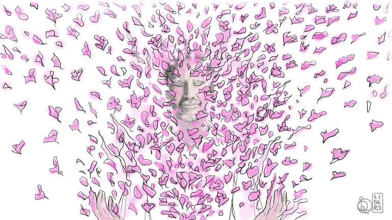 Ilustração de pessoa com sobrancelhas, bigode e barba brancos com as mãos levantadas para frente. Há figuras rosas de formatos variados que partem da pessoa e se espalham pela imagem toda
