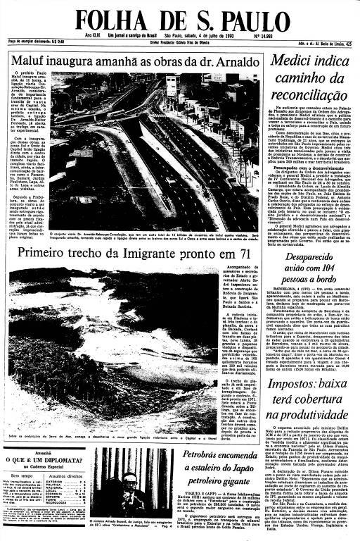 Primeira Página da Folha de 4 de julho de 1970