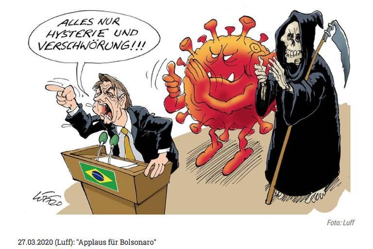 Veículos estrangeiros retratam postura de Bolsonaro em charges - 10/05/2020 - Poder - Folha