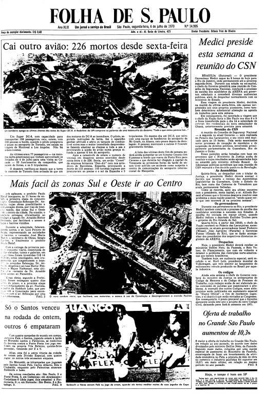 Primeira Página da Folha de 6 de julho de 1970