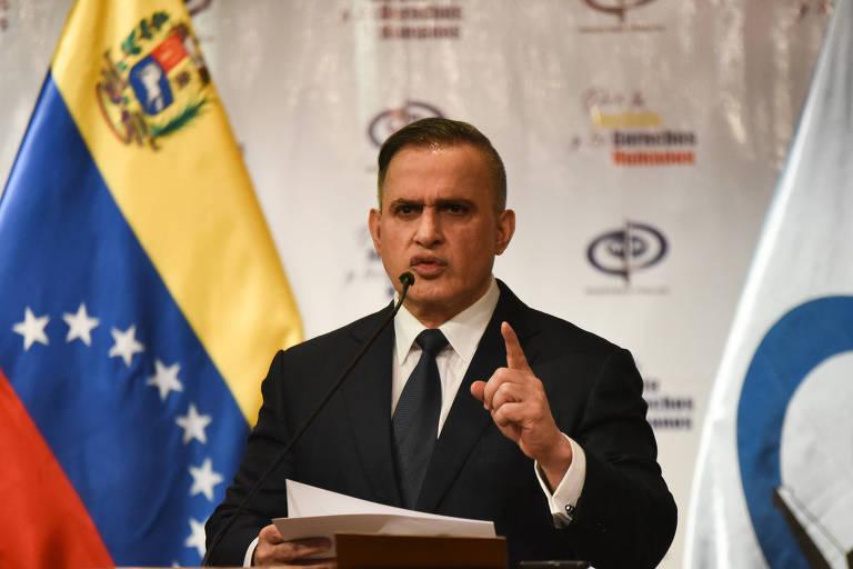 O procurador-geral da Venezuela, Tarek William Saab, durante entrevista coletiva em Caracas