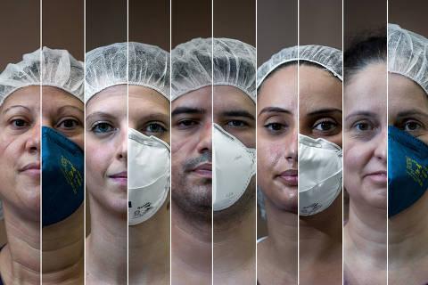 SAO PAULO/ SP, BRASIL,  06/05/2020. Da esq. para dir.  Silvânia Venâncio da Silva, 40, técnica de enfermagem, Simone Caroline Maluf, 29, José Heliton Santos, 30, equipe de enfermagem, Jéssica Tenório, 30, técnico de enfermagem, Myrcea Maria de Carvalho Suzuki, 43, paranaense.  (Foto: Zanone Fraissat/Folhapress, COTIDIANO)***EXCLUSIVO**** ORG XMIT: AGEN2005072047217860