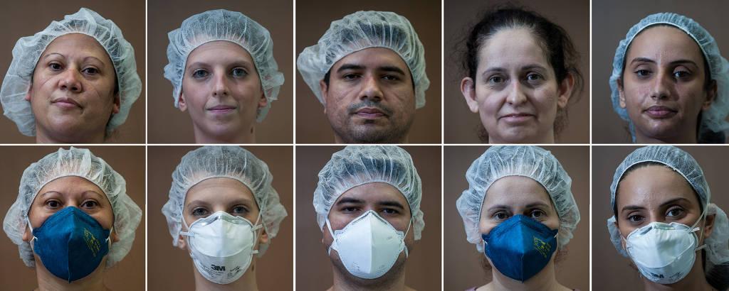 Cinco profissionais com máscaras de enfermagem e sem máscara, em mosaico de 10 rostos