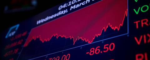 (200319) -- NUEVA YORK, 18 marzo, 2020 (Xinhua) -- Una pantalla electrónica muestra información de comercio en el piso de la Bolsa de Valores de Nueva York, en Nueva York, Estados Unidos, el 18 de marzo de 2020. Las acciones estadounidenses se desplomaron el miércoles en otra sesión volátil y el Dow Jones cayó a su mínimo nivel en tres años en medio de la constante propagación del coronavirus. El Promedio Industrial Dow Jones perdió 1.338,46 puntos, o 6,30 por ciento, para terminar en 19.898,92 unidades, marcando su primer cierre abajo de 20,000 desde febrero de 2017. El índice de 30 acciones cayó más de 2,300 puntos en mínimos de sesión. (Xinhua/Michael Nagle) (eb) (da)