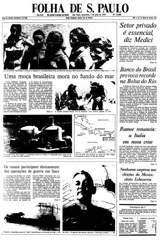 Primeira Página da Folha de 7 de julho de 1970
