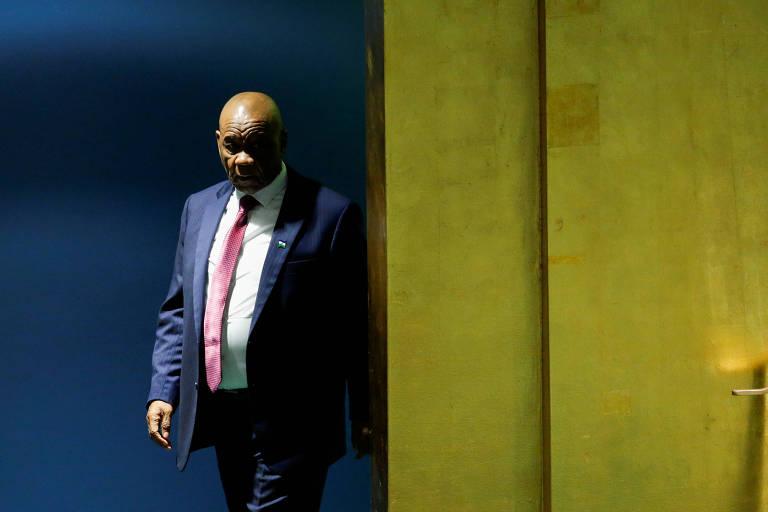 O primeiro-ministro de Lesoto, Thomas Thabane, prepara-se para discursar na Assembleia Geral da ONU, em 2018