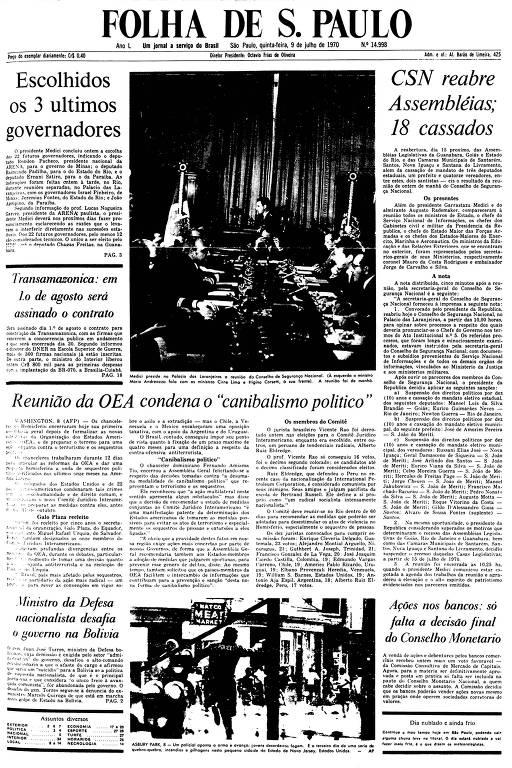 Primeira Página da Folha de 9 de julho de 1970