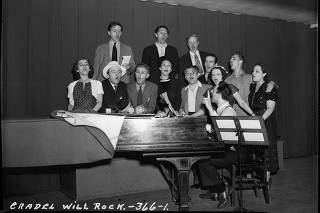 Cast members rehearse for ?The Cradle Will Rock,? a ?play in music? that was funded by the Federal Theater Project but shut down by the government in 1937. (Library of Congress via The New York Times)