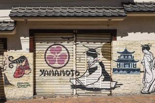 ***Esp FOLHA. Ruas Comerciais Fechadas***   Fachada do restaurante japones fechado, Yamamoto, na rua Americo de Campos no bairro Liberdade.