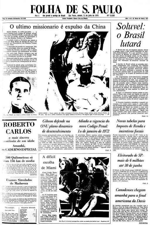 Primeira Página da Folha de 11 de julho de 1970