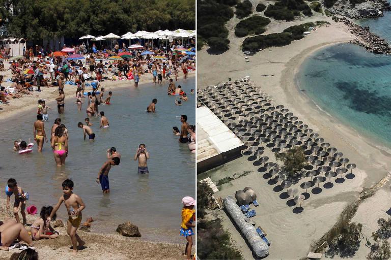 Foto da esquerda mostra praia cheia de banhistas. À direita, vista aérea de praia deserta, com cadeiras de praia vazias