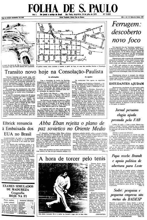 Primeira Página da Folha de 14 de julho de 1970