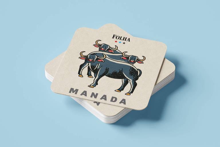 """Peça do jogo da memória com dois bois desenhados escrito 'Manada"""""""