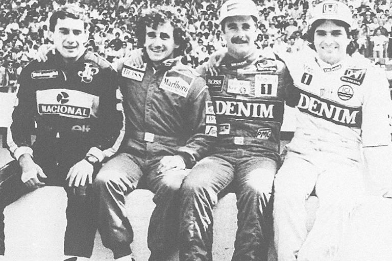 Da esquerda para a direita, os pilotos Ayrton Senna, Alain Prost, Nigel Mansell e Nelson Piquet durante treino do GP de Estoril