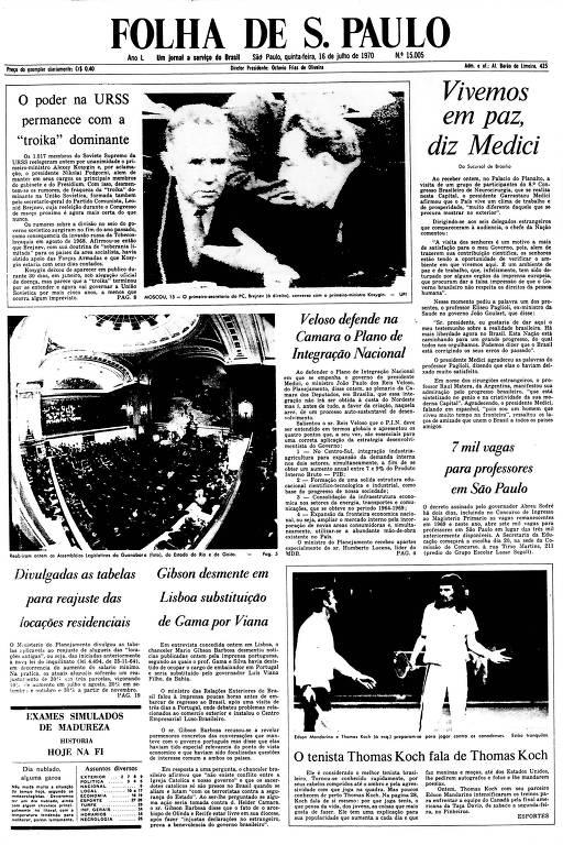 Primeira Página da Folha de 16 de julho de 1970