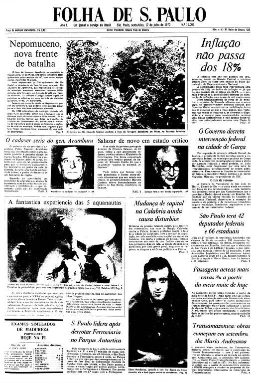 Primeira Página da Folha de 17 de julho de 1970