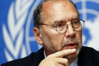 Ebola virus discoverer Piot addresses a news conference at the United Nations after an informal consultation at the WHO in Geneva