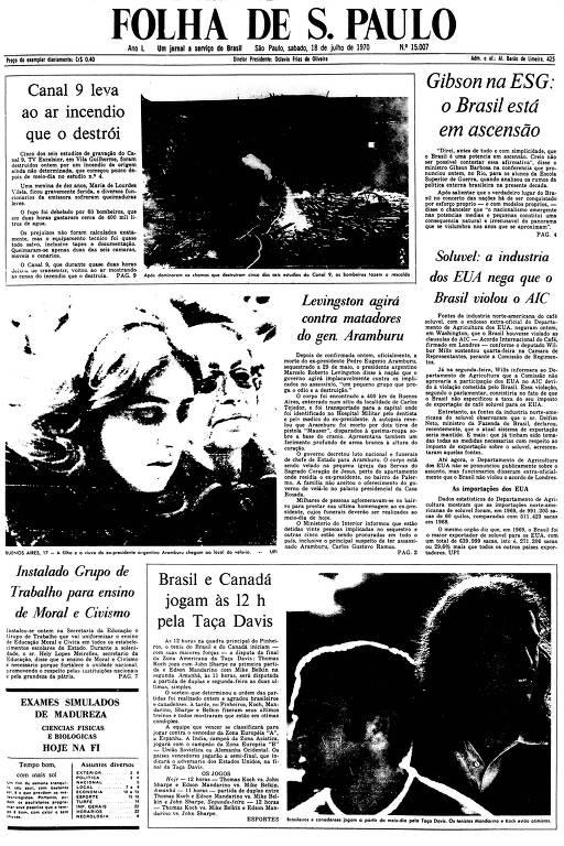 Primeira Página da Folha de 18 de julho de 1970