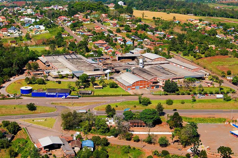 Vista aérea de Lajeado, no Rio Grande do Sul