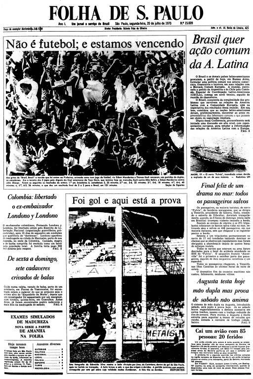 Primeira Página da Folha de 20 de julho de 1970