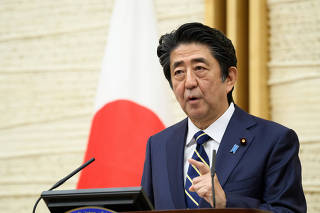Japan's Prime Minister Shinzo Abe speaks during a news conference in Tokyo