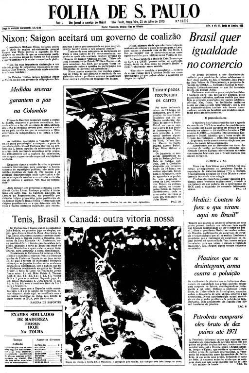 Primeira Página da Folha de 21 de julho de 1970