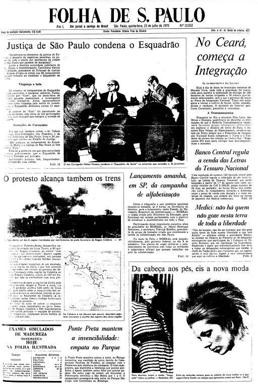 Primeira Página da Folha de 23 de julho de 1970