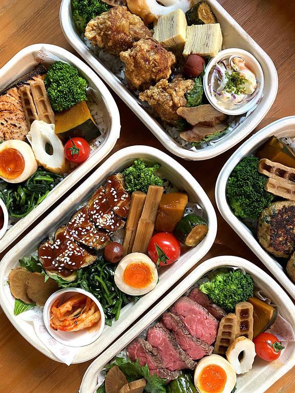 Bentôs (marmitas japonesas) do restaurante Ototo, casa-irmã do Tan Tan