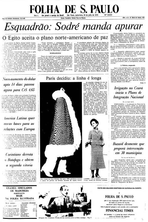 Primeira Página da Folha de 24 de julho de 1970
