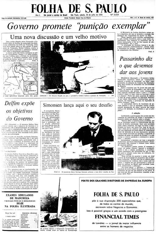 Primeira Página da Folha de 25 de julho de 1970