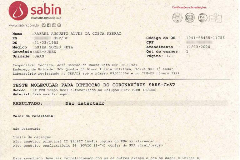 Exame para o coronavírus de Jair Bolsonaro, com o pseudônimo