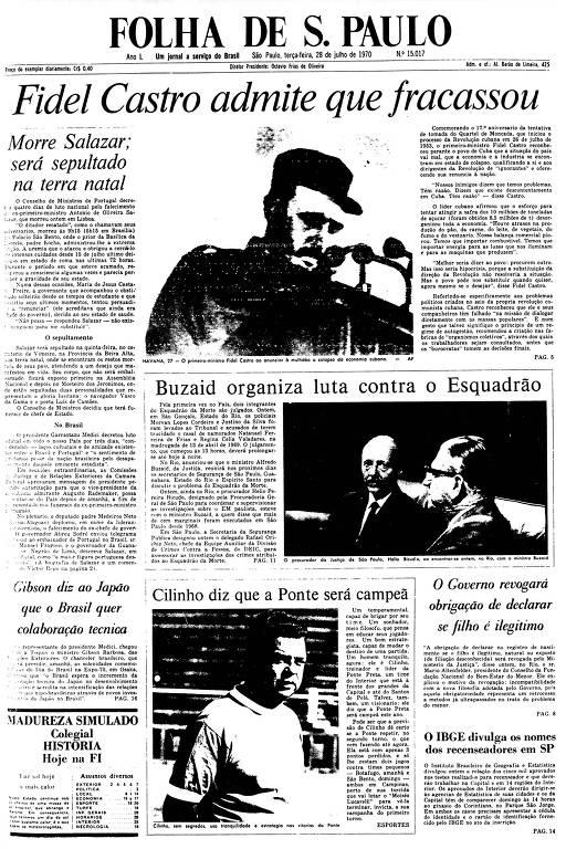 Primeira Página da Folha de 28 de julho de 1970