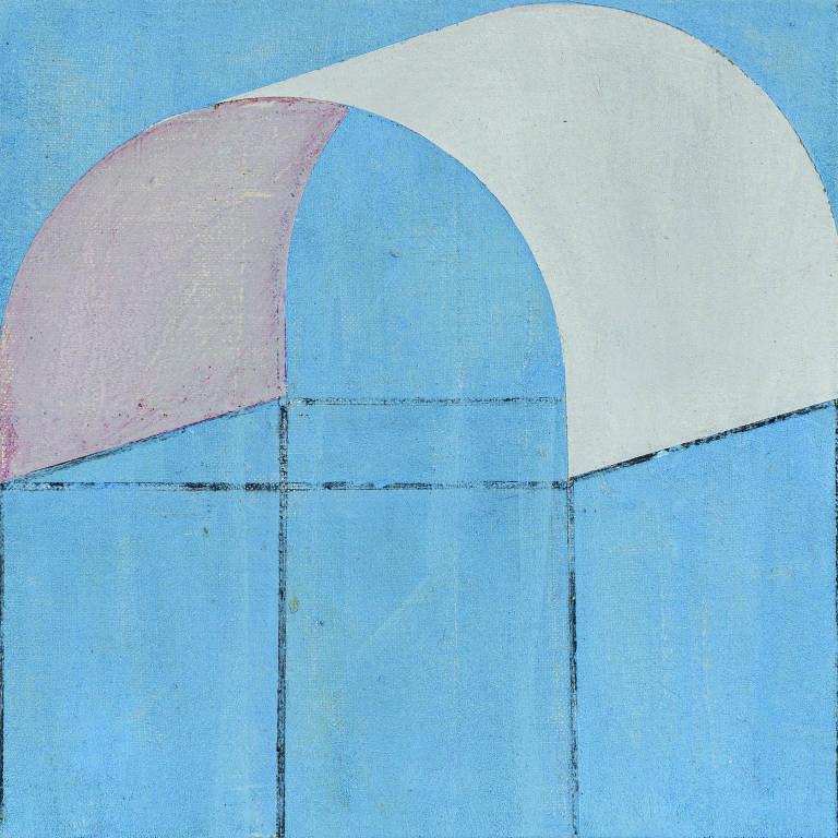 Pintura abstrata em tons de azul