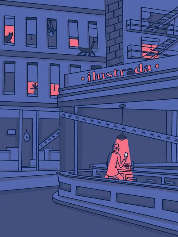 """Ilustração inspirada na obra """"Nighthawks""""de Edward Hopper"""