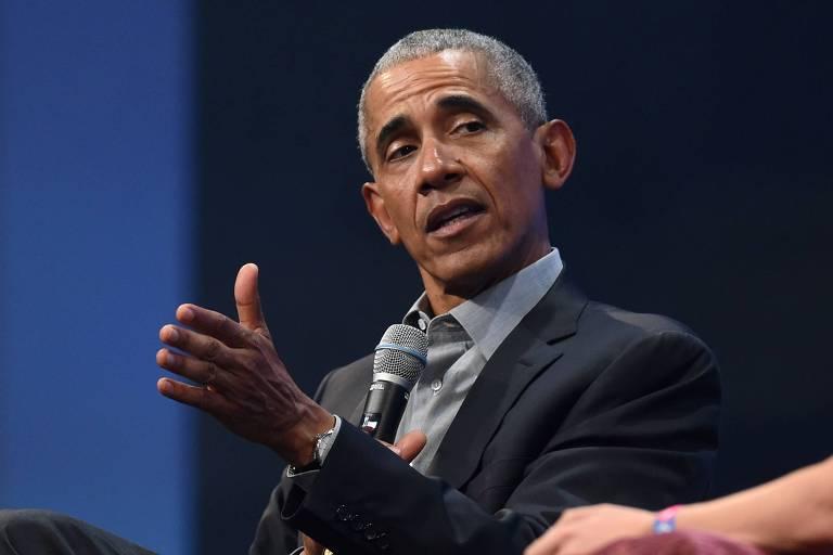 O ex-presidente Barack Obama durante evento em Munique, na Alemanha