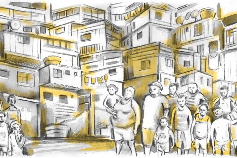 Ilustração de várias casas em um morro. Na frente, várias pessoa com idades variadas