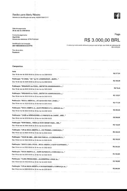Recibo dos gastos do deputado Boca Aberta (Pros-PR) no Facebook pra impulsionar posts