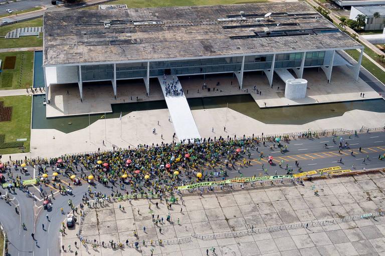 Manifestação em favor do governo Bolsonaro em Brasília