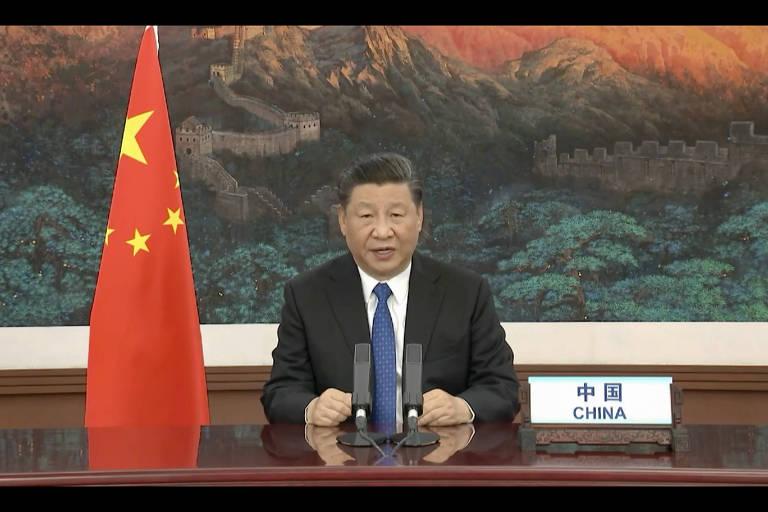 O líder chinês, Xi Jinping, fala por vídeo à assembléia da OMS na segunda (18)