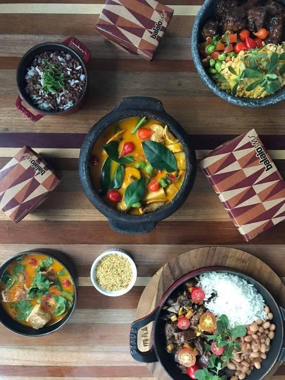 Pratos para delivery do restaurante Balaio, comandado pelo chef Rodrigo Oliveira, também do Mocotó