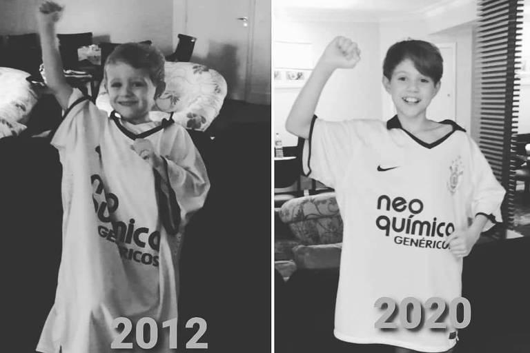 O garoto Basílio em fotos de 2012 e 2020 na comemoração da conquista do Mundial de Clubes do Corinthians