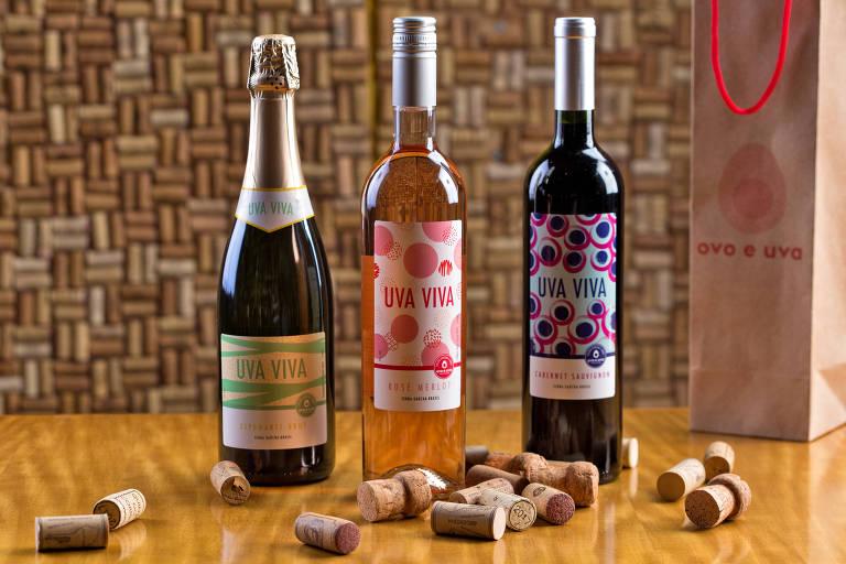 Linha de vinhos do Ovo e Uva
