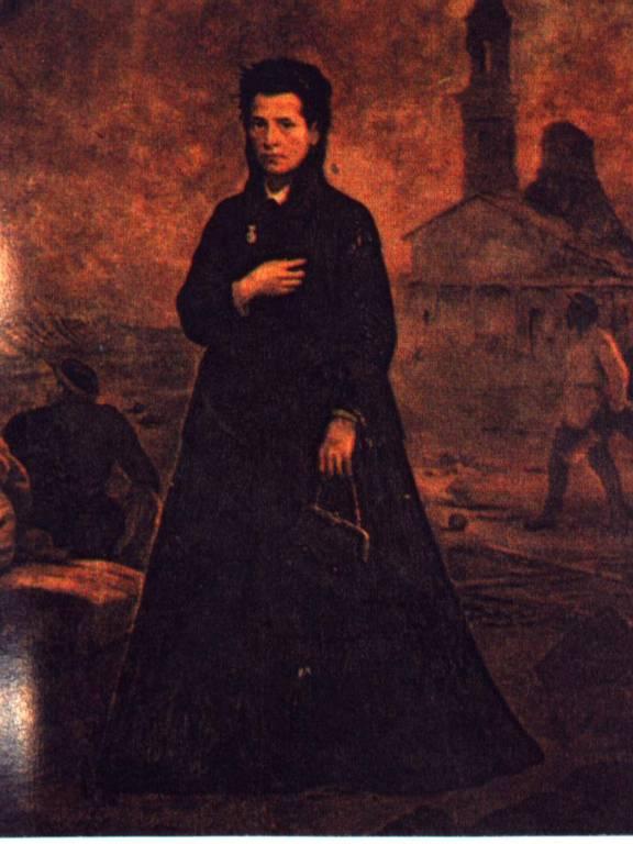 Foto de Anna Nery, com cenário da guerra, em pintura a óleo de Victor Meireles (1870)