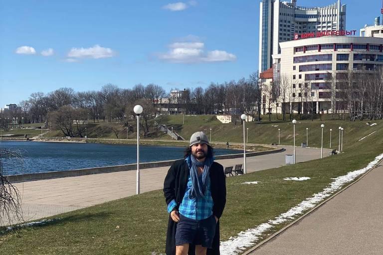 O brasileiro Cristiano Quirino de Britto em Minsk, Belarus