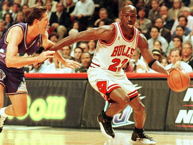 Michael Jordan nas finais da NBA de 1997, quando conquistou seu quinto título