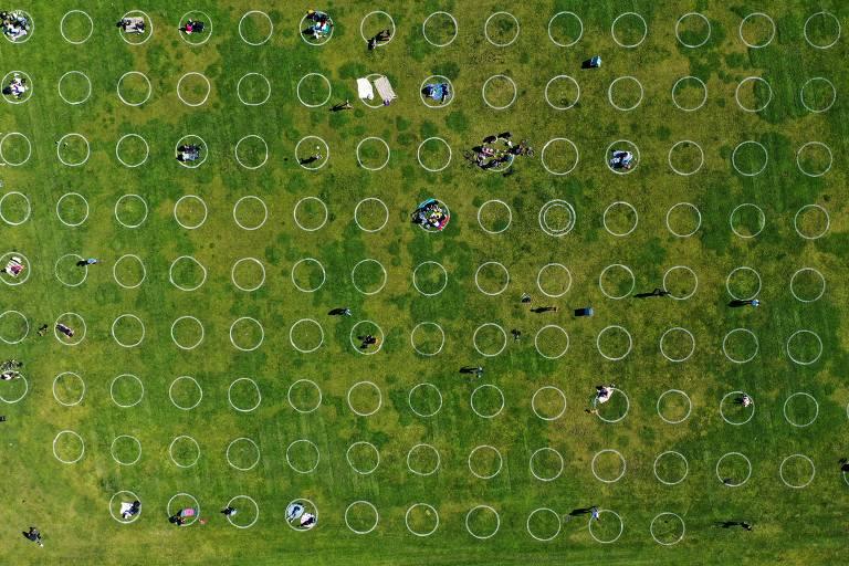 Parque nos EUA usa círculos para manter distanciamento social; veja fotos de hoje